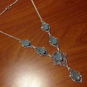 🔥NWT! Genuine Blue Chalcedony Silver Filigree